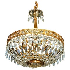 Hollywood Regency French Crystal and Gilt Brass Chandelier