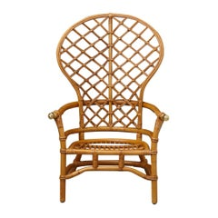 Hollywood Regency High Back Fan Style Rattan Armchair with Brass Elements