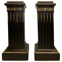 Hollywood Regency Neoclassical Ebony Pedestals, Bronze Mounted Marble Tops, Pair