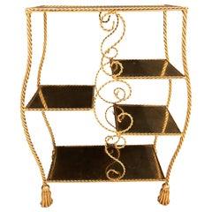 Hollywood Regency Style Gilt Brass Étagère by Jansen