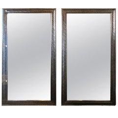 Hollywood Regency Style Large Wall / Floor Pier Silver Metal Mirrors