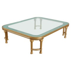 Hollywood Regency Style P.E. Guerin Coffee Table with Etched Glass Solid Bronze