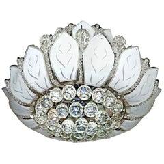 Hollywood Regency Sun Flower Chandelier 2-Tier Crystal Chrome Art Glass 12-Light