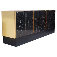 Hollywood Regency Tessellated Black Marble and Brass Credenza or Cabinet by Ello