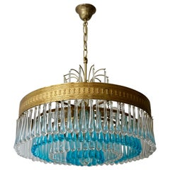 Hollywood Teardrop and Crystal Ball Chandelier with Brass and Hand Blown Glass