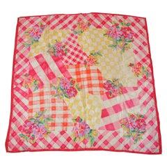 "Honey Wonderful Multicolor ""Springtime Floral Picnic Spread"" Silk Scarf"