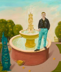 Young Man Standing on the Fountain
