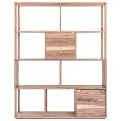 Hopscotch Shelving Unit in American Walnut with Brass Detail by Mr and Mrs White