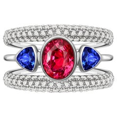 Hot Pink Neon Mahenge Spinel 3.5 Ct with Tanzanites and Diamonds White Gold Ring