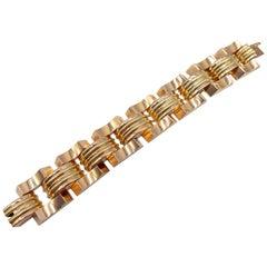Hungarian/ French Import 18 Karat Rose and Green Gold Retro Bracelet