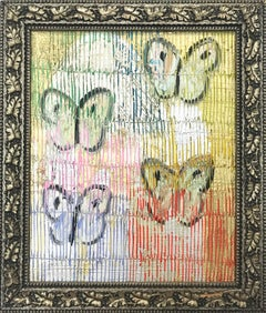 """4 Flys"" (Multicolor Butterflies on Gold Background Scoring) Oil on Wood"