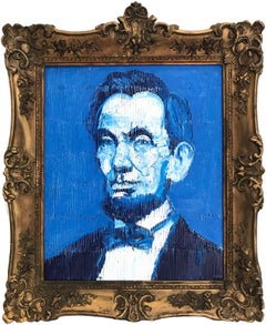 """Abraham Lincoln"" (Neo-Expressionist Oil Painting in Blue Background on Canvas)"