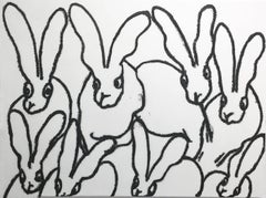Hunt Slonem bunnies diamond dust painting 'White Diamond'