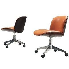 Ico Parisi Swivel Chairs in Rosewood and Leatherette
