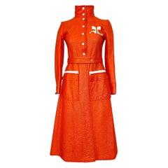 Iconic 1960s Andres Courreges Bright Orange & White Vinyl Coat or Dress