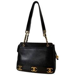 Iconic Chanel Vintage Black Caviar Leather Triple Logo Shoulder Bag, 1994