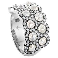 Icy Rose-Cut DEGVVS White Brilliant-Cut Diamond Pave Eternity Ring