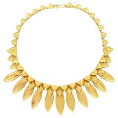 Ilias Lalaounis 18 Carat Gold Fringe-Style Leaf Necklace, circa 1980s