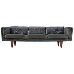 Illum Wikkelsø 'V11' Sofa in Black Leather