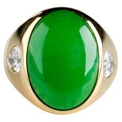 Important Jade Ring with Diamonds Midcentury Untreated