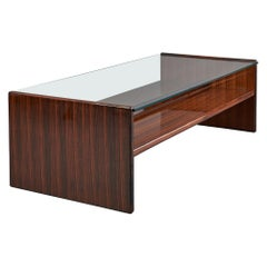 Important Polished Wood Coffee Table, Italy, 1970s