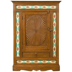 Indian Small Cabinet with Sunburst Design and Hand Painted Tiles with Rose Motif