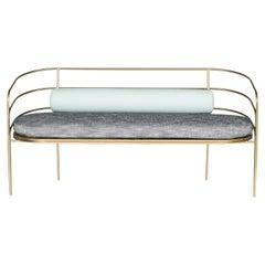 Indoor/Outdoor Steel-Framed Sofa in Modern Regency Style by Laun Los Angeles
