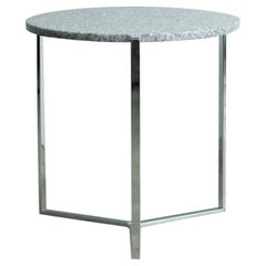 Industrial Stainless Steel Three-Leg Frame Round Grey Granite Table Top Ghyczy