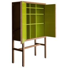 Inside-Out Credenza Lungo, Fine Cupboard Lacquer Finish, Liquor Buffet (Walnut)