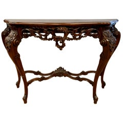 French Rococo Carved Entry Console Demilune Table