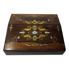Irish Rosewood Mother of Pearl Writing Slope Box by Austins Dublin, circa 1860
