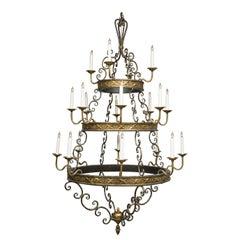 Iron and Brass Twenty-Light Hanging Chandelier
