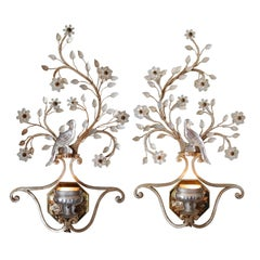 Pair Iron & Crystal Silver Leaf Wall Sconces by Banci Firenze, Italy circa 1950