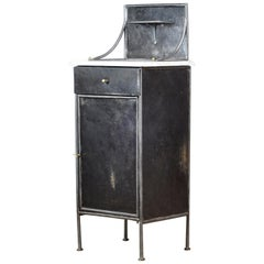Iron Nightstand with Marble Top, 1920s