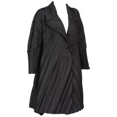 Issey Miyake Black Sculptural Pleated Cocoon Coat