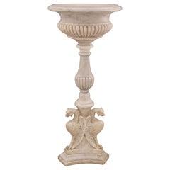 Italian 19th Century Renaissance Style White Carrara Marble Birdbath/Fountain