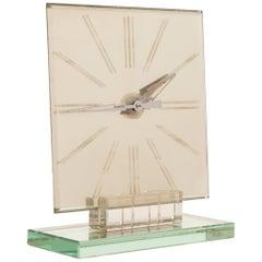 Italian Art Deco Mirror Clock in a Heavy Cut Crystal Base