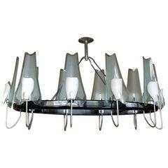 Italian Black Metal, Chrome and Glass Oval Chandelier by Stilnovo, 1950s