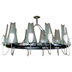 Italian Black Metal, Chrome and Glass Oval Chandelier by Stilnovo, 1950s