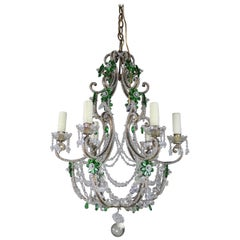 Italian Crystal Beaded Chandelier with Emerald Crystal Flowers, circa 1930s