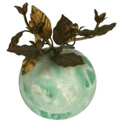 Italian Green Marble Apple with Gilt Foliage