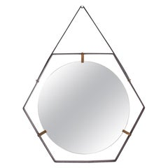 Italian Hexagonal Mirror by Sant'Ambrogio & de Berti in Metal, Brass & Leather
