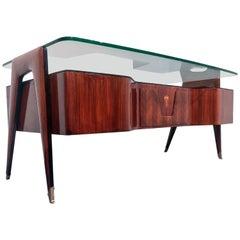 Italian Midcentury Rosewood Executive Desk by Vittorio Dassi, 1950s
