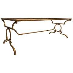 Italian Modern Neoclassical Gilt Iron Coffee Table for Hermès