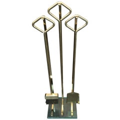 Italian Modernist Solid Brass and Glass Fireplace Tool Set