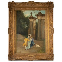 Italian Polychrome Painting of Lovers in Courtyard and Dog, Spiridon, Rome, 1872