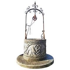 Italian Renaissance Style Wrought Iron Wishing Stone Well Head