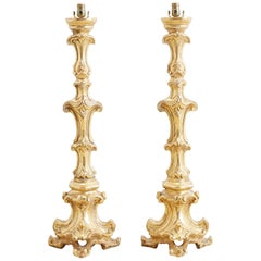 Italian Rococo Giltwood Pricket Candlestick Lamps