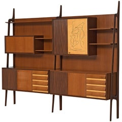 Italian Wall Unit in Rosewood and Maple