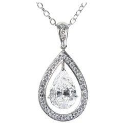 J. Birnbach GIA Certified 1.52 Carat Pear Shape Diamond 18 Karat Gold Pendant